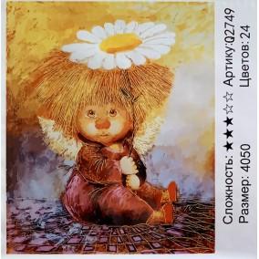 Картина по номерам Q2749 Ангел с ромашкой 40*50