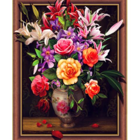 Алмазная мозаика 3DZХ111 Натюрморт. Цветы 40х50