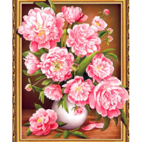 Алмазная мозаика 3DZХ127 Розовые пионы 40х50