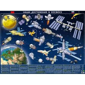Детская космическая карта.Наши достижения в космосе.Настенная карта на картоне.