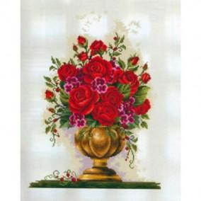 Алмазная мозаика GF 1357 Розы в вазе 40*50