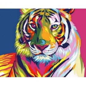 Картина по номерам Q1431 Цветной тигр 40*50