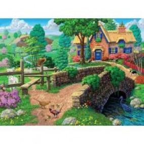 Алмазная мозаика GF 1563 Деревня у реки 40*50
