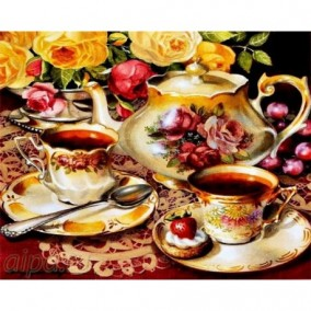 Алмазная мозаика GF 1713 Чайный сервиз 40*50