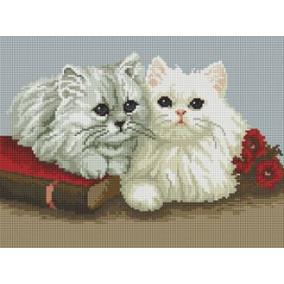 Алмазная мозаика EF 174 Белые котята 30*40