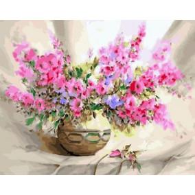 Картина по номерам GX 23372 Розовые цветочки 40*50