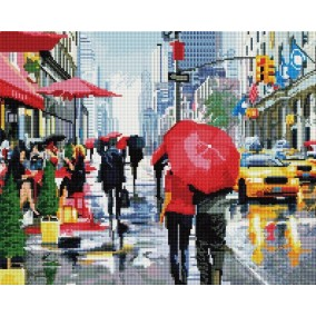 Алмазная мозаика GF 1381 Дождь в Нью-Йорке 40*50