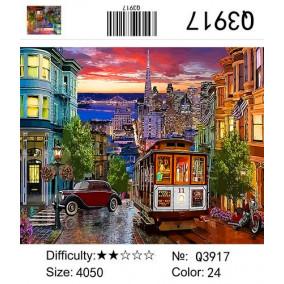 Картина по номерам Q3917 Старый трамвай 40*50