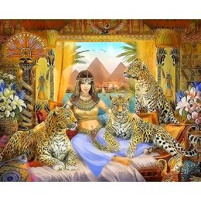 Картина по номерам Q4544 Клеопатра и гепарды 40*50
