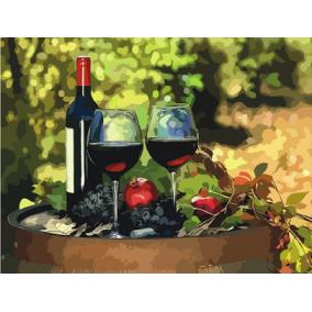 Картина по номерам Q4960 Вино и бокалы 40*50