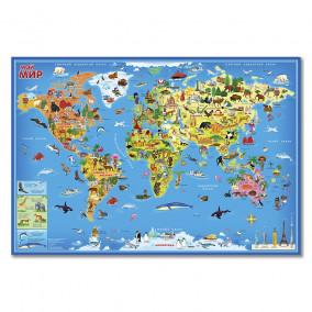 """Карта для детей """"Мой мир"""", 101х69 лам. настенная Геодом"""