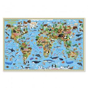 Карта Мира настенная. Наша планета. Животный и растительный мир. 58х38 см ГЕОДОМ