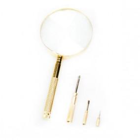 Лупа с ручкой и отвертками Veber 599911, 3x, 90 мм (11278)