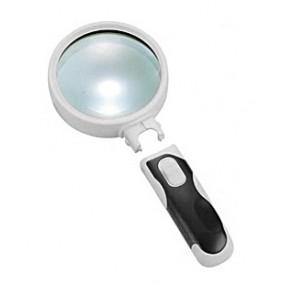 Лупа Kromatech ручная круглая 10x, 50 мм, с подсветкой (2 LED), черно-белая 77350B