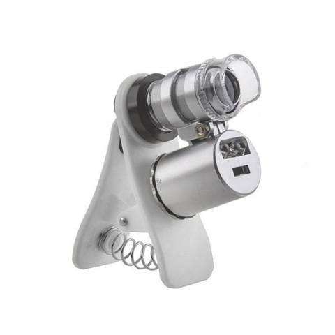Микроскоп Kromatech 60х мини,с креплением для смартфона,подсветкой (2LED) и ультрафиолетом (9882-W)