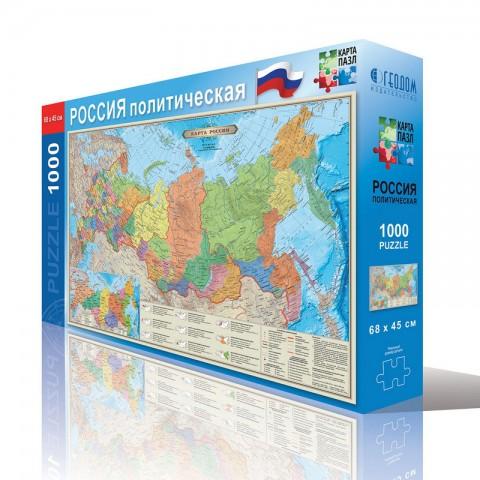 Карта-пазл. Россия политическая, 45х68, 1000 дет, ГЕОДОМ