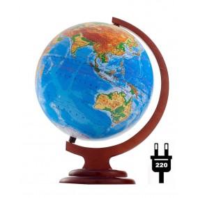 Глобус физический 250 на деревянной подставке  с подсветкой