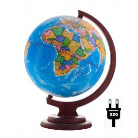 Глобус политический 210 на деревянной с подсветкой