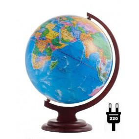Глобус политический 320 на деревянной подставке с подсветкой