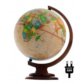 Глобус политический Ретро-Александр 250 на деревянной с подсветкой