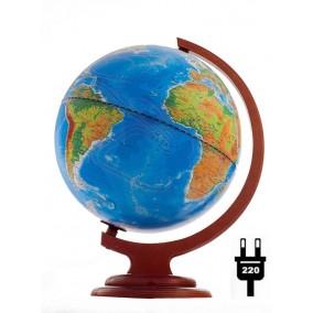 Глобус физический/политический (2-я карта) 250 на деревянной подставке с подсветкой