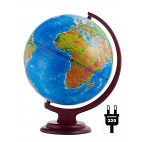 Глобус физический/политический 320 на деревянной подставке с подсветкой