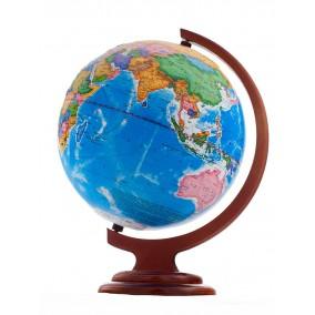Глобус политический 250 мм рельефный на дер. подставке