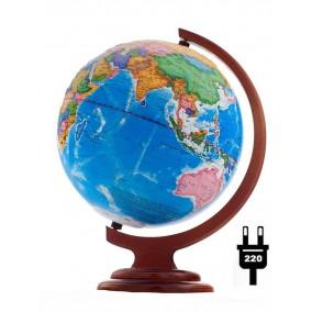 Глобус политический 250 мм рельефный на дер. подставке с подсветкой