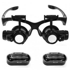 Лупа-очки Kromatech налобная 10/15/20/25x, с подсветкой (2 LED) MG9892